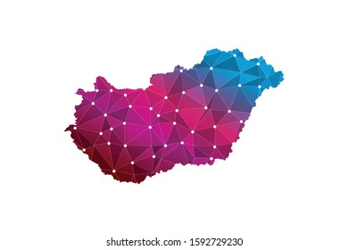 Map of Hungary. Wire frame 3D mesh polygonal network line, design sphere, dot and structure. communications map of Hungary. Vector Illustration EPS10.