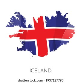 Map Of Iceland With Flag As Texture Isolated On White Background. Vector Illustration