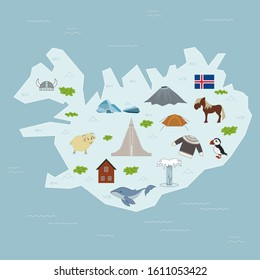A map of Iceland with Icelandic animals and symbols. Icelandic nature