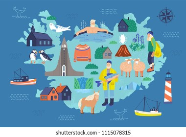Map of Iceland with touristic landmarks and national symbols - lighthouse, sheep, fisherman, man in hot pool, Icelandic horse, Hallgrimskirkja. Colorful vector illustration in flat cartoon style.