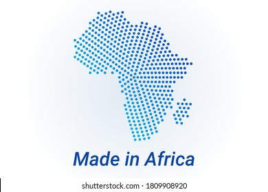 Map icon of Africa. Vector logo illustration with text Made in Africa. Blue halftone dots background. Round pixels. Modern digital graphic design. Light white backdrop