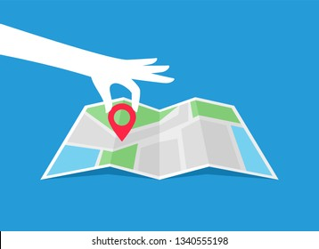 Map icon. Hand holding location pointer. Location pin icon. Flat style. Vector