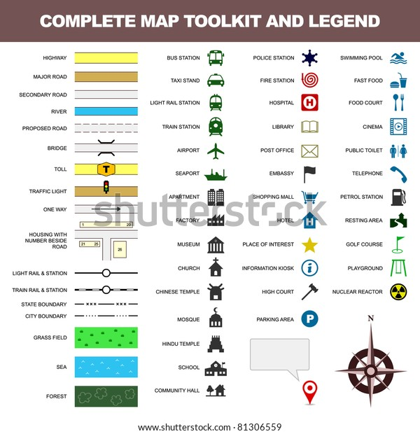 Map Icon Legend Symbol Sign Toolkit Stock Vector Royalty Free 81306559