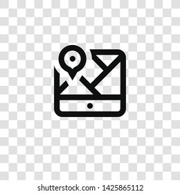 map icon from miscellaneous collection for mobile concept and web apps icon. Transparent outline, thin line map icon for website design and mobile, app development