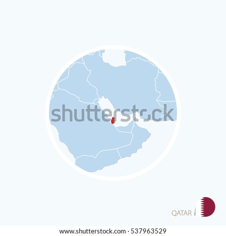 Map Icon Qatar Blue Map Middle Stock Vector Royalty Free 537963529
