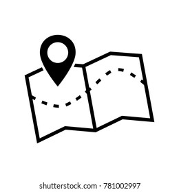 Map icon. Vector image of a location map icon. Search pointer on navigation icon isolated on white. Line symbol location map marker