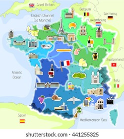 Map with icons - France - vector illustration