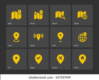 Map icons on gray background. GPS and Navigation. Vector illustration.