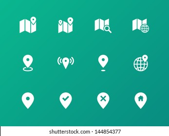 Map icons on green background. GPS and Navigation. Vector illustration.