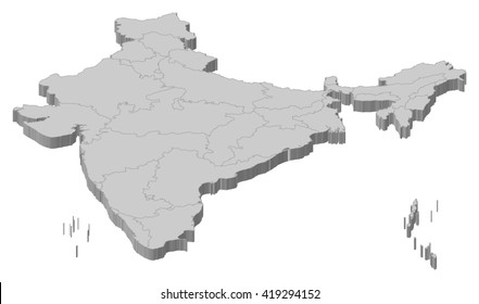 Map - India - 3D-Illustration