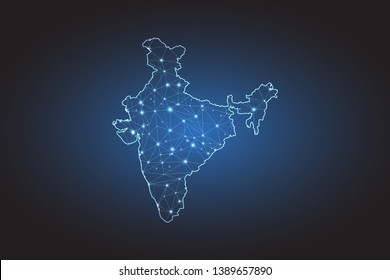 Map of India - Abstract mash line and point scales on circuit dark background. Wire frame 3D mesh polygonal network line, design sphere, dot and structure. Vector illustration eps 10.