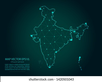 Map of india - Abstract mash line and point scales on dark gradient background. Wire Frame 3D mesh polygonal network line, design sphere, dot and structure. Vector illustration eps 10.