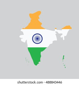 map of India in the colors of the flag