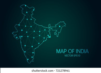 Map of India - With glowing point and lines scales on the dark gradient background, 3D mesh polygonal network connections.Vector illustration eps 10.