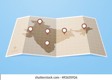 Map of India with gps map pointers / pins vector illustration drawn in flat style