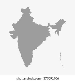 Map  of India in gray on a white background