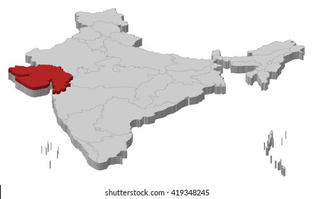 Map - India, Gujarat - 3D-Illustration