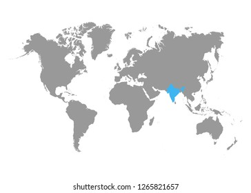 World Map Highlighting India Stock Illustrations, Images & Vectors