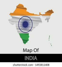 Map of India, isolated on gray background. Vector illustration