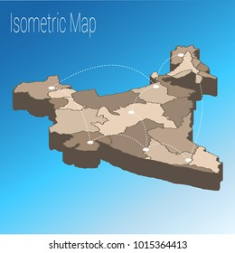Map India isometric concept. 3d flat illustration of Map India with regions, states