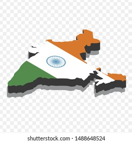 Map India isometric concept. A 3d flat illustration, map of india with national flag.