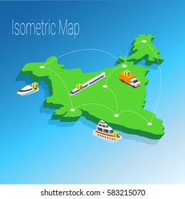 Map India isometric concept. 3d flat illustration of Map India. India map infographics design template