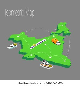Map India isometric concept. 3d flat illustration of Map India. map infographics design template