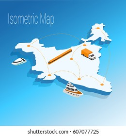 Map India isometric concept. 3d flat illustration of Map India.