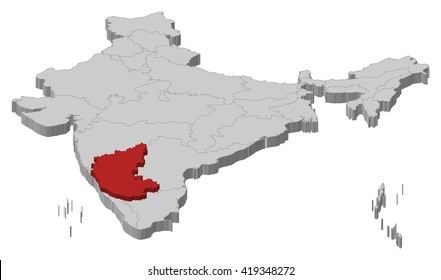 Map - India, Karnataka - 3D-Illustration