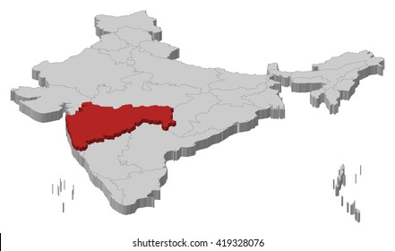 Map - India, Maharashtra - 3D-Illustration