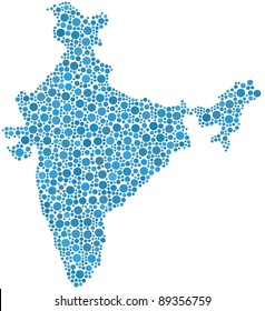 Map of India in a mosaic of blue circles. Each bubble is accurately inserted into the mosaic. White background