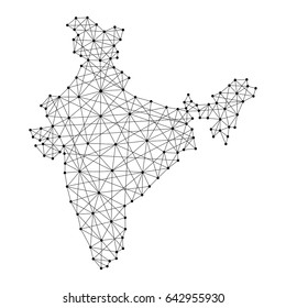 Map of India from polygonal black lines and dots of vector illustration