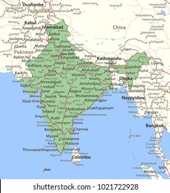 Map of India. Shows country borders, urban areas, place names and roads. Labels in English where possible.Projection: Mercator.