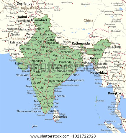Map India Shows Country Borders Urban Stock Vector Royalty Free