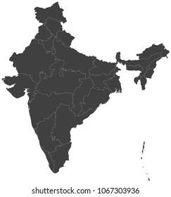 Map of India split into regions