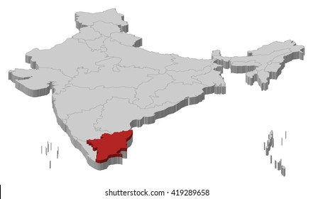 Map - India, Tamil Nadu - 3D-Illustration