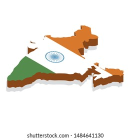 Map India vector isometric concept. 3d flat illustration of Map India. map of india with national flag.