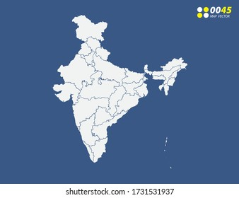 Map of India vector on blue
