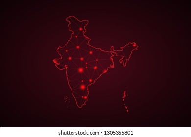 Map of India. Wire frame 3D mesh polygonal network line, design sphere, dot and structure. communications map of India. Vector Illustration EPS10. - Vector