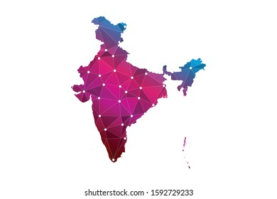 Map of India. Wire frame 3D mesh polygonal network line, design sphere, dot and structure. communications map of India. Vector Illustration EPS10.