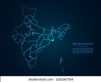 Map of india,Abstract mash line and point scales on dark background for your web site design map logo, app, ui,Travel. Vector illustration eps 10.