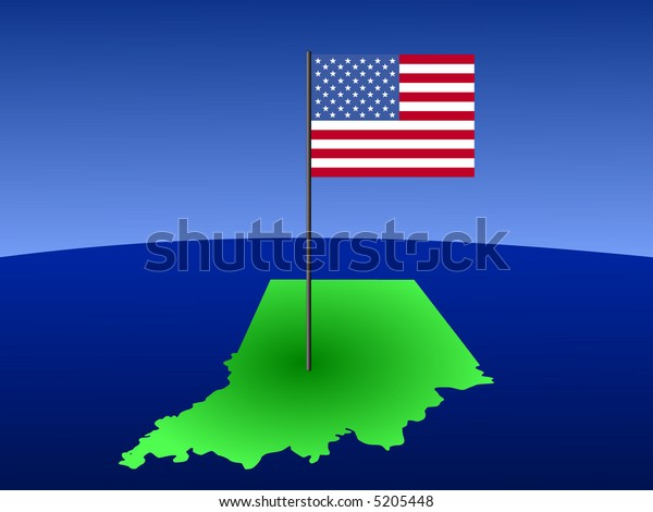 map of Indiana with American Flag on pole