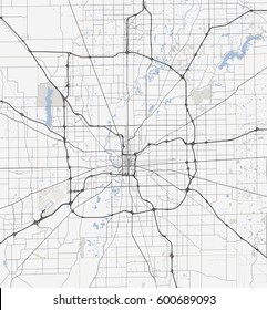 Map Indianapolis city. Indiana Roads