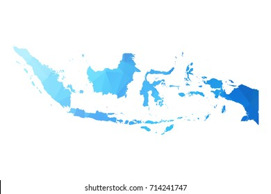 Map of Indonesia - Blue Geometric Rumpled Triangular , Polygonal Design For Your . Vector illustration eps 10.