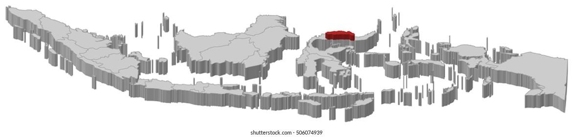 Map - Indonesia, Gorontalo - 3D-Illustration