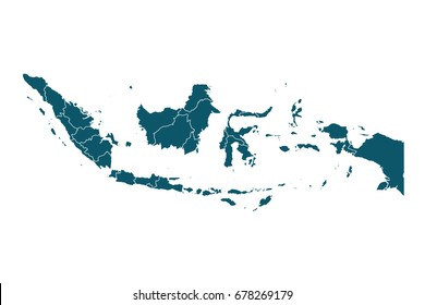 Map of Indonesia - High detailed on white background. Abstract design vector illustration eps 10.
