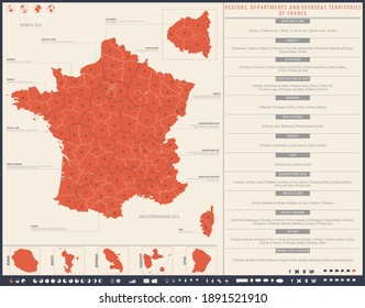Map with infographics, regions, departments and overseas territories of France