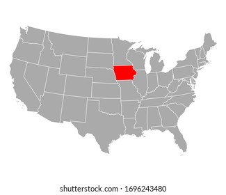 Map of Iowa in USA on white