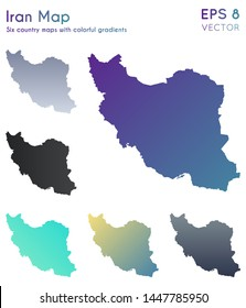 Map of Iran with beautiful gradients. Adorable set of country maps. Stunning vector illustration.