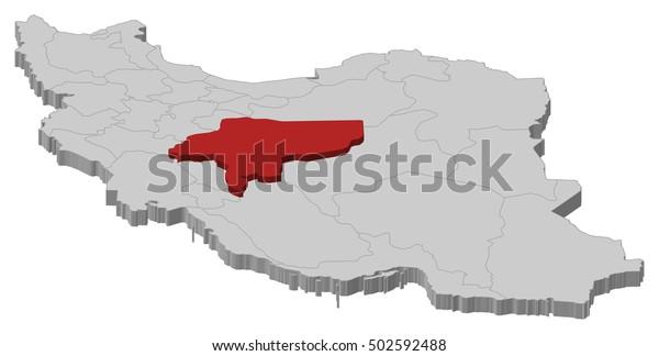 Map Iran Isfahan 3dillustration Stock Vector (Royalty Free ...